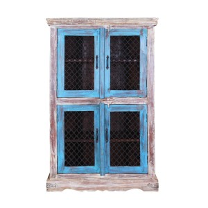 Jali Rustic Mango Wood Iron Grill Door Large Display Cabinet