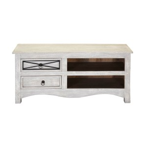 Blanc Indian Solid Wood Winter White Tv Unit Cabinet