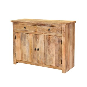 Miller Indian Solid Wood 2 Drawer Storage Buffet Cabinet Natural