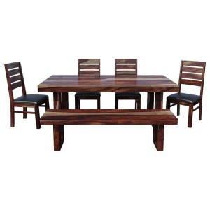 Galveston Rustic Solid Wood 6-Piece Dining Table Chair Set with Bench