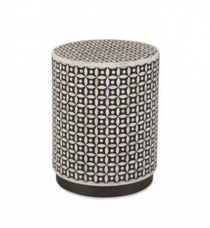 Maaya Bone Inlay Round drum Side Table Black Geometric