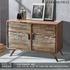 Contemporary Reclaimed wood Sideboard Whitewash