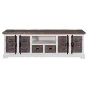 Blanc Indian Solid Wood Tv Media Console Cabinet With Shutter Doors