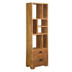 Clarkson 7 Open Shelf Reclaimed Wood Tall Narrow Bookcase w Drawers