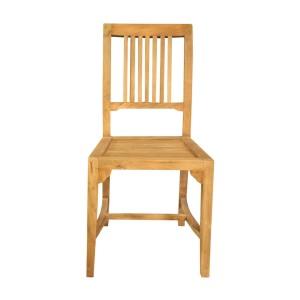 Stylish Vertical Slatted Back Teak Wood Dining Chair Natural