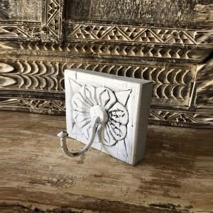 Floral Hand Carved Old Wood Coat Rack Wall Hanger With 1 Hooks 10cm