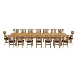 Boston Reclaimed Teak Wood 17 Piece Large Extendable Dining Table Set Natural