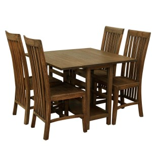 Boston Indian Solid Wood Drop Leaf Dining Table And Chair Set Chocolate Brown