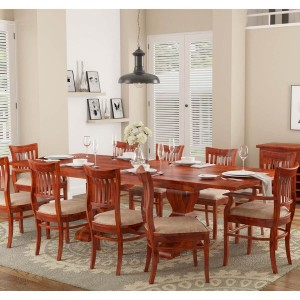 Boston Solid Wood Extendable Dining Table with 10 Chairs Set Honey Brown