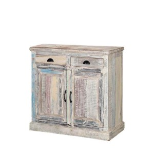 Rustica Indian Reclaimed Wood Small Buffet Cabinet Sideboard With 2 Drawers