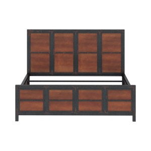 Miller Industrial Indian Solid Wood Iron Platform Bed