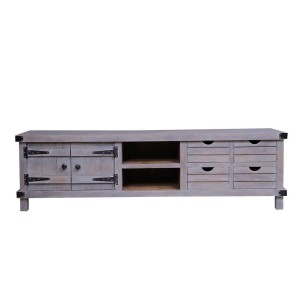 Blanc Indian Solid Wood Furniture Media Console TV Unit Stand