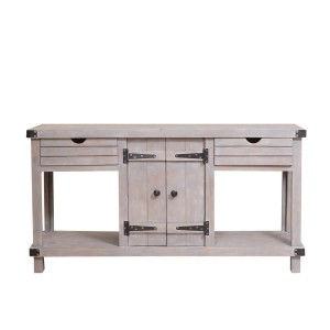 Blanc Indian Reclaimed Wood 2 Drawer Media Console TV Stand Table