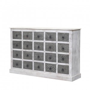 Clovelly Indian Reclaimed Wood Dual Tone Chest Of Drawers