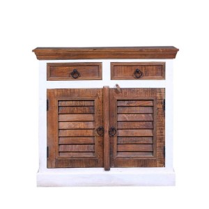 Shutter Doors Indian Reclaimed Wood  2 Drawer Small Buffet Cabinet