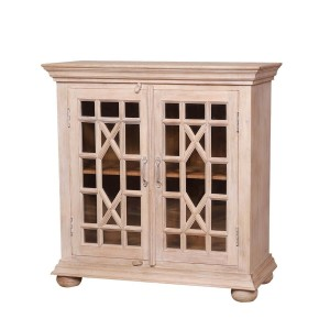 French Arched Hand Carved Indian Solid Wood Glass Door Small Buffet Cabinet