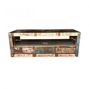 Rustica Indian Reclaimed Wood Tv Cabinet With 3 Drawers Natural  45 x 150 x 55 cm