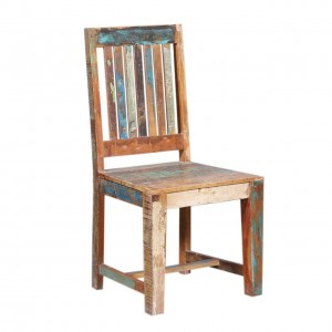 Handcrafted Slatted Back Reclaimed Wood Dining Chair Natural