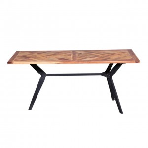 Grandview Rustic Reclaimed Wood Iron Base Dining Table