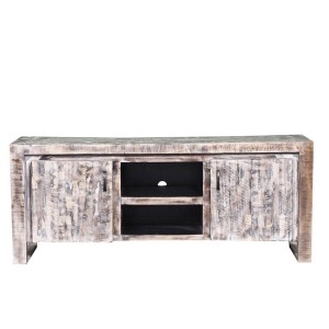 Rustica Indian Reclaimed Wood Tv Unit Console Cabinet Whitewash