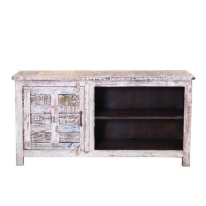 Rustica Indian Reclaimed Wood TV Stand Media Console Whitewash