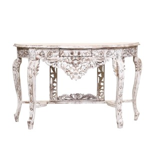 French Arched Hand Carved Indian Solid Wood Console Hall Table