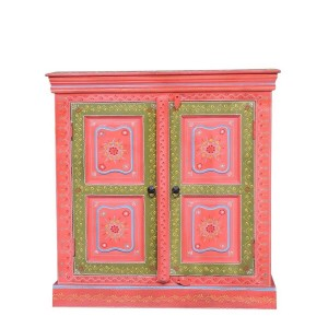 Bleached Hand Painted Indian Solid Wood Floral Design Storage Cabinet