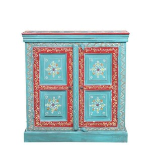 Bleached Hand Painted Indian Solid Wood Floral Design Storage Cabinet Blue