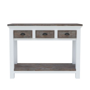 Danville Modern Teak and Solid Wood 3 Drawer Console Hall Table