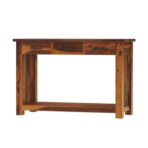 Jeddito Mission Rustic Solid Wood Console Hall Table With 3 Drawers