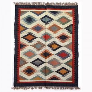 Kilim Wool Handwoven Woollen Dhurrie Durry Rug Jute Floor Covering Pattern 6