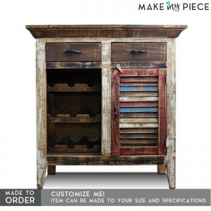 Shutter Reclaimed wood Bar Cabinet Wine Rack sideboard