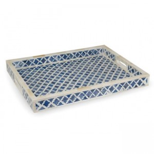 Maaya Bone Inlay Serving Tray - Moroccan Design  49x39x5cm