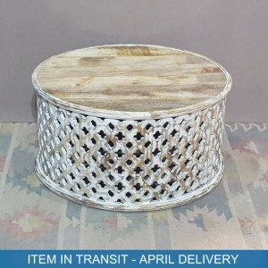 Bristol Indian Solid Wood Hand Carved Round Coffee Table White 80x80x40 cm