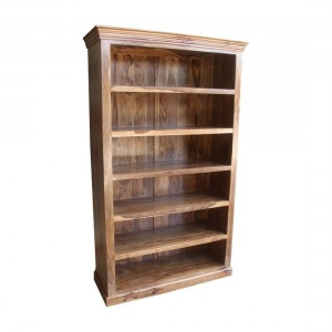 Indian Solid Wood Large Open Bookcase Natural  D45 x W120 x H200 cm