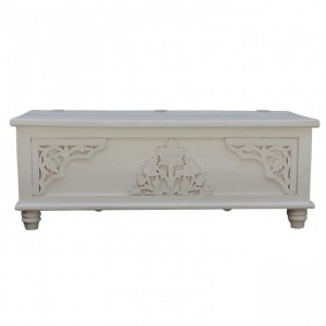 Cromer Hand Carved Floral Blanket Box White A