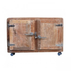 Cromer coffee table blanket box trunk on wheels - Whitewash