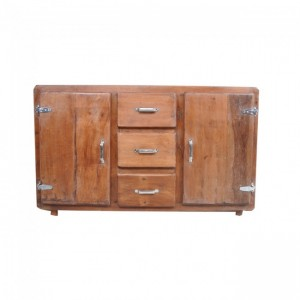 Cromer retro style sideboard buffet hutch 150cm - Natural Brown