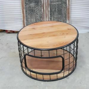 Solid wood top metal base industrial round coffee table 75cm diameter storage