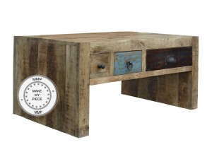 Lava Industrial Indian Solid Wood Side table With Drawers Natural