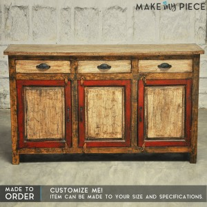 Antique Rustic Red panel Indian French sideboard