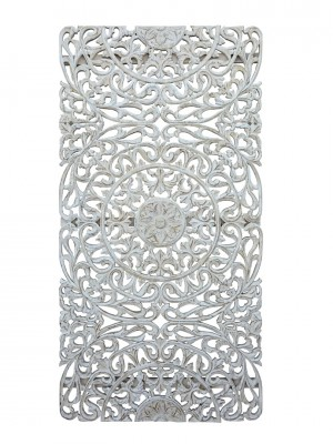 Dynasty Hand Carved Indian Wooden Oriental Furniture Carved Panel Whitewash