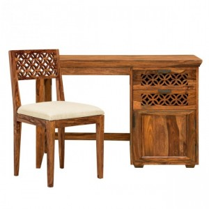 Addison Hand Carved Desk Set - 1 Study Table & 1 Chair