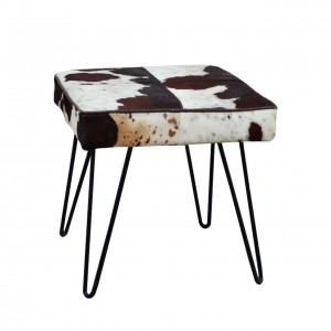 AGED LEATHER UPHOLSTERED STOOL LOFT