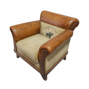 Charleston Polo Aged Leather Armchair