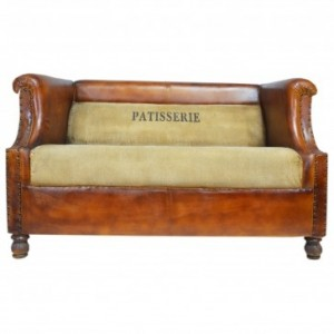 Aged Leather Brown 2 Seater Vintage Sofa