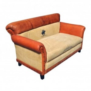 Aged Leather Brown 3 Seater Sofa Charleston Polo