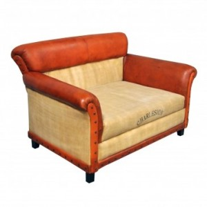 Aged Leather Brown 2 Seater Sofa Charleston Polo