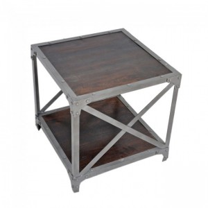 Angle Industrial Lamp Side Table Chocolate 50x50cm