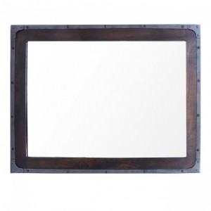 Angle Industrial Wall Bathroom Mirror Frame Chocolate 90cm
